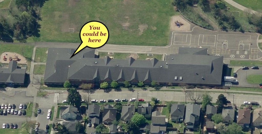 Aerial shot of Thurgood Marshall ES, Seattle